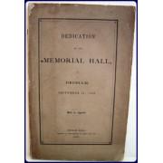 DEDICATION OF THE MEMORIAL HALL, IN DEDHAM, SEPTEMBER 29,1868.